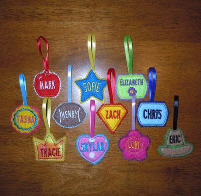 In The Hoop LunchBox Name Tag Applique Design Set For Embroidery Machines