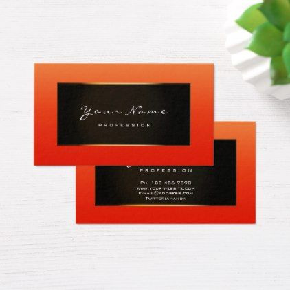 Fashion Blogger Framed Black Frame Gold Coral Red Business Card Zazzle Com Yellow Business Card Red Business Cards Stylist Business Cards