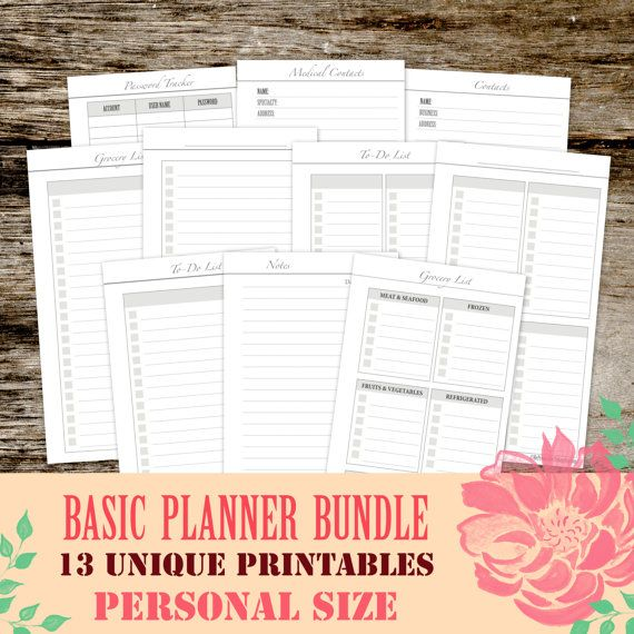 Filofax Personal Inserts Basic Printable Bundle Todo List