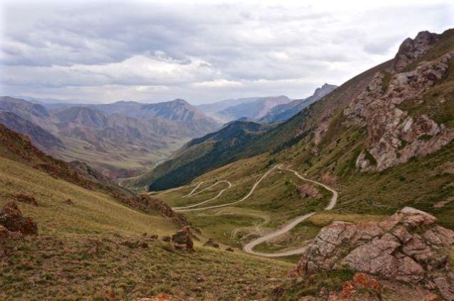 Twisting road up towards Song-Kul lake, Kyrgyzstan trueworldtravels.com
