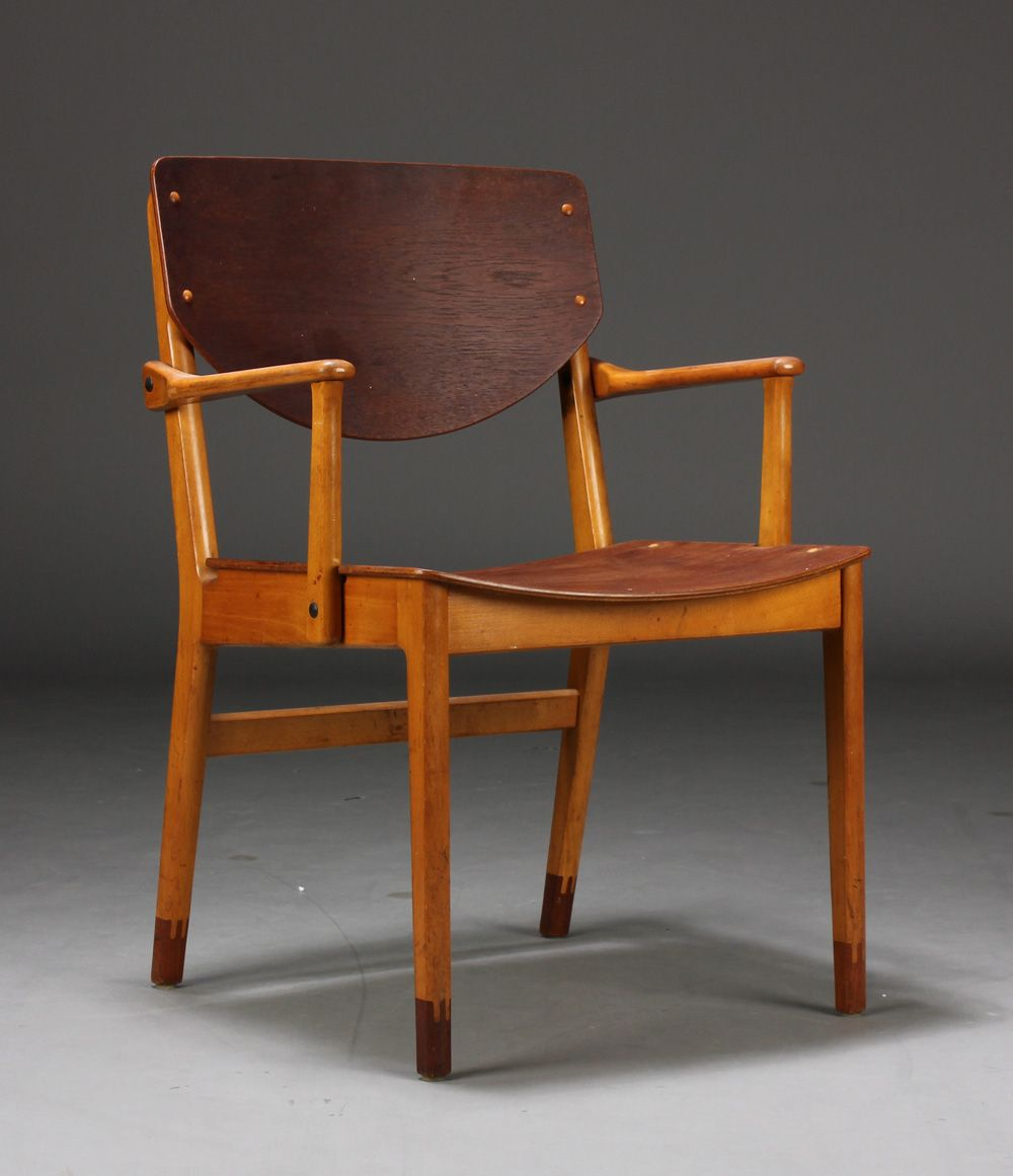 Anonymous; Teak and Beech Armchair by Kvetny & Sons, 1950s.