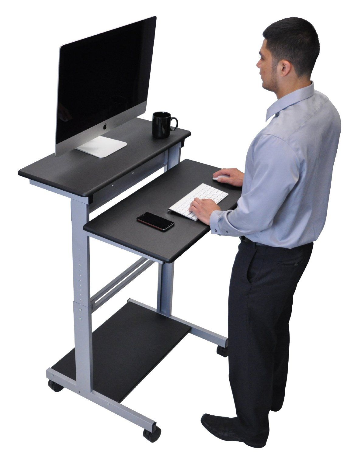 Incredible Amazon Com 32 Mobile Ergonomic Stand Up Desk Computer Download Free Architecture Designs Scobabritishbridgeorg