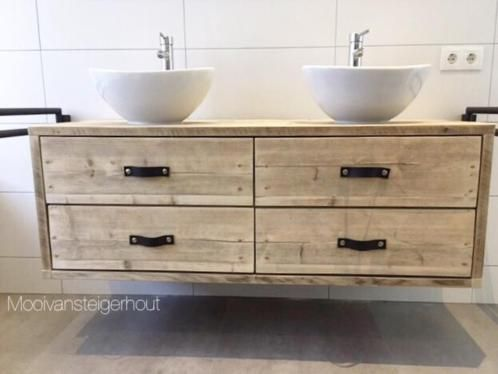 Afbeeldingsresultaat voor steigerhouten badkamer meubel bathroom