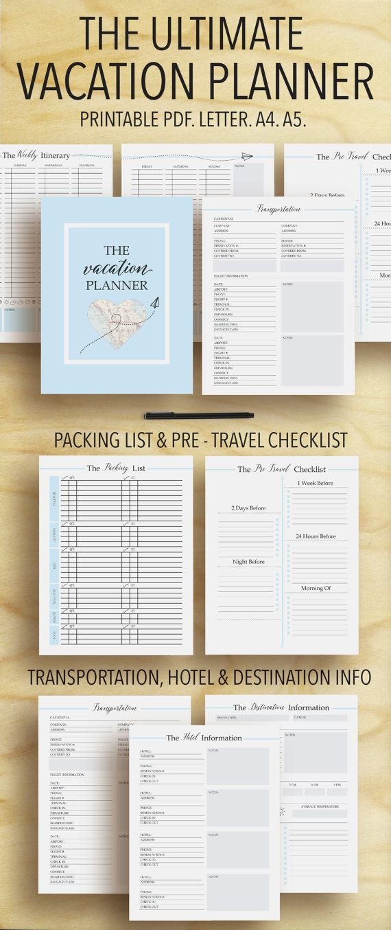 Vacation Planner Travel Planner Trip Planner By Plannersbyb Vacation Planner Vacation Organization Travel Planner