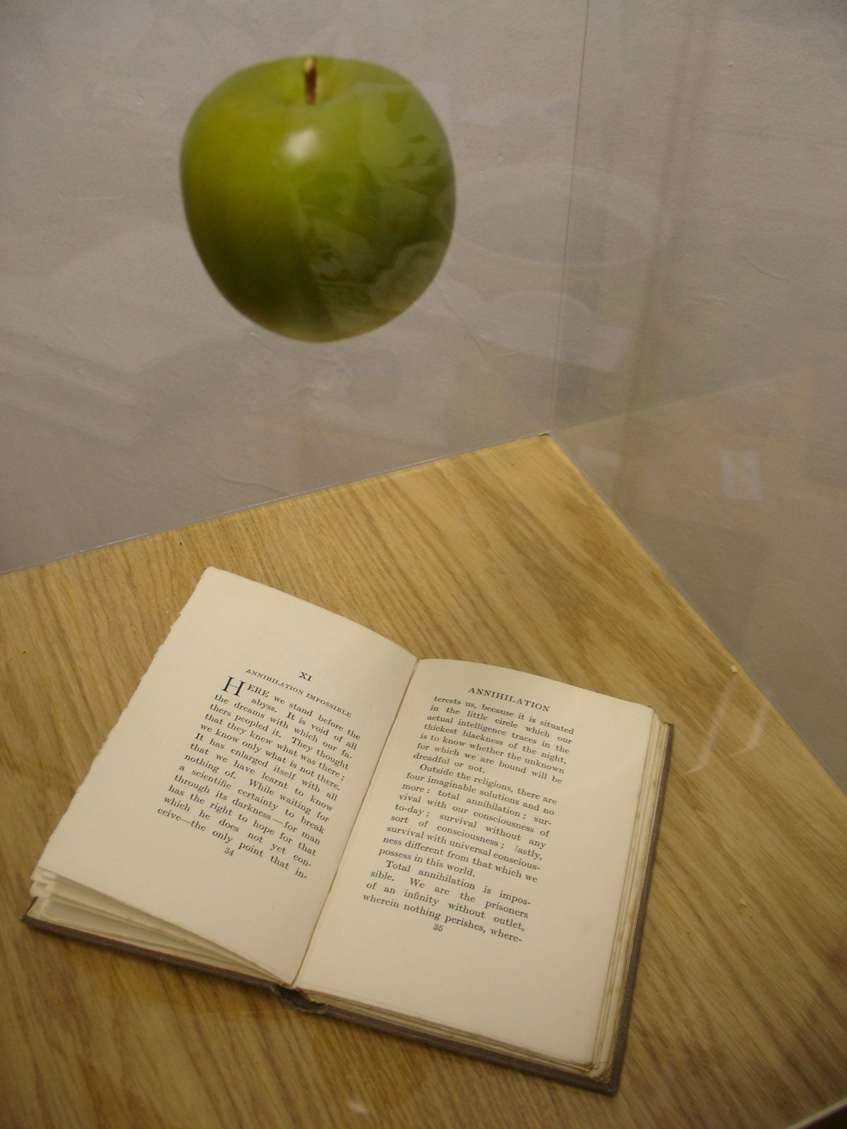 Paul Fryer  Annihilation Impossible  Annihilation Impossible, 2007 (Vitirne, composite apple, book, Kevlar thread, Oak veneered plinth)  1450mm x 405mm x 405mm