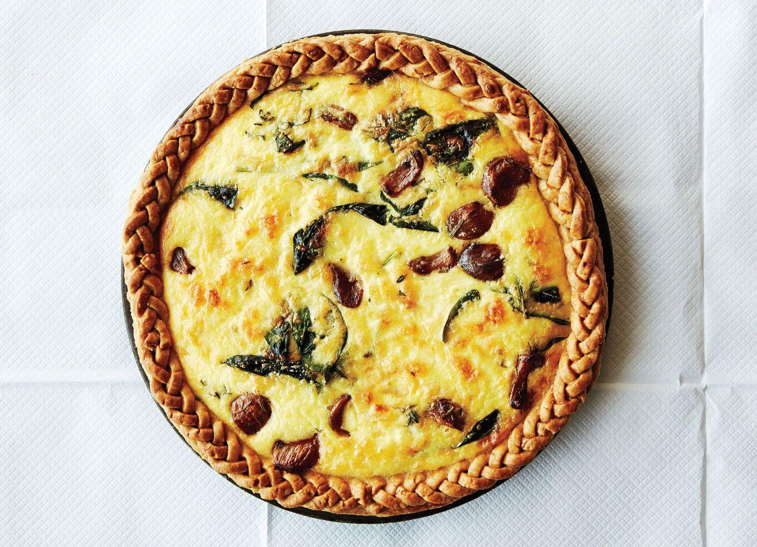 Caramelized Garlic Spinach And Cheddar Tart