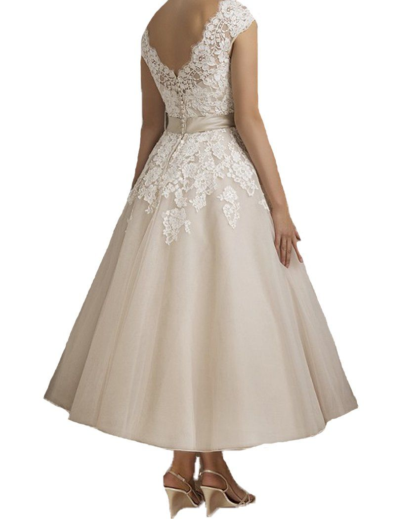 Betsey johnson wedding dresses  QiJunGe  Tea Length Lace V Neck Bridal Gowns Vintage Bride