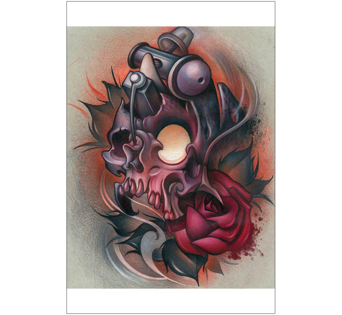 Skull Machine By Timmy B New School Tattoo Design Biomechanical Rose