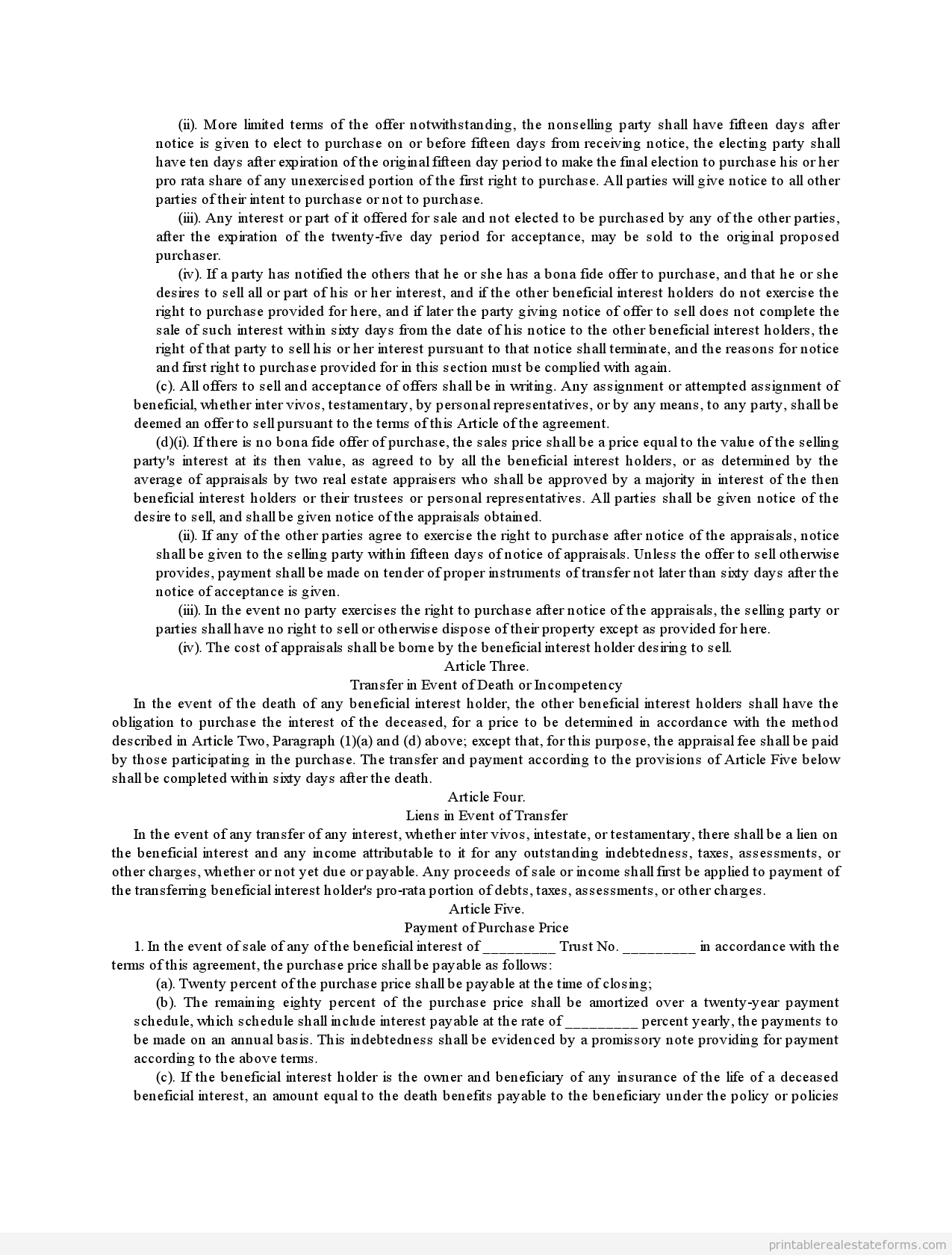 Sample Printable Complex Beneficiary Agreement Form  Printable