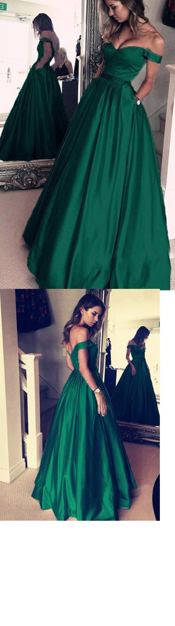 Classy dark green prom dress long senior girls graduation formal