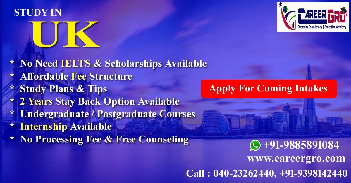 Study In UK Apply For Coming intakes.No Processing Fee