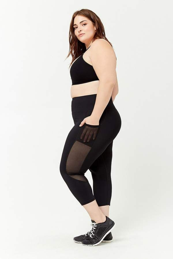 336b60df3a0 Forever 21 Plus Size Active Mesh Panel Leggings