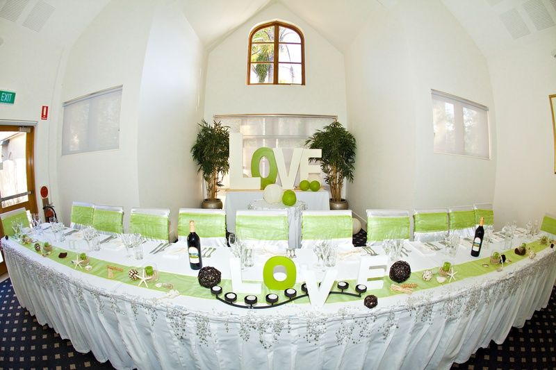 Wedding Table Decorations | beach Wedding Lime Green and Cream ...