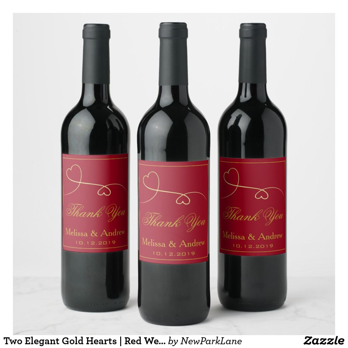 Two Elegant Gold Hearts Red Wedding Thank You Wine Label Zazzle Com