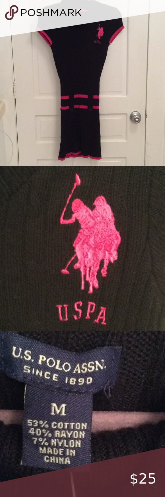 U S Polo Assn Black W Pink Logo Sweater Dress Short Sleeves Pockets On Each Front Side Embroidered Logo On Upper Left Fr In 2020 Pink Logo Sweater Dress Polo Assn