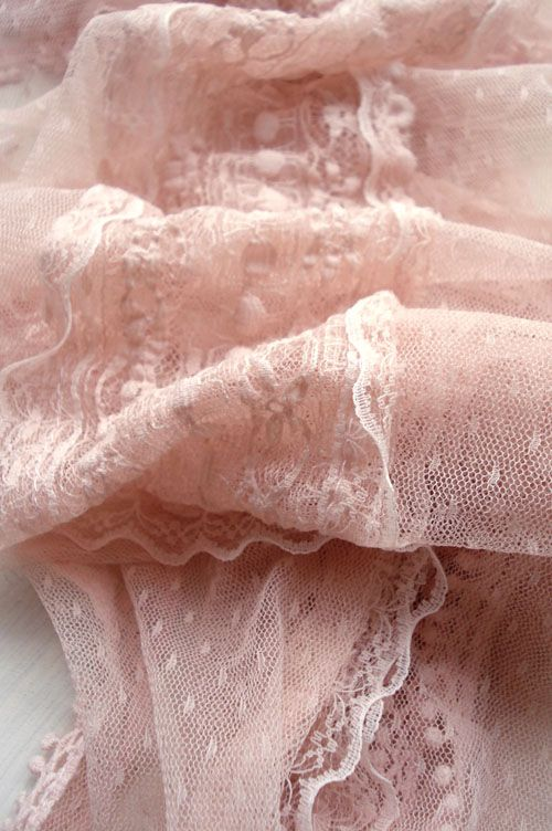 Soft pink, vintage, scalloped lace, love~❥