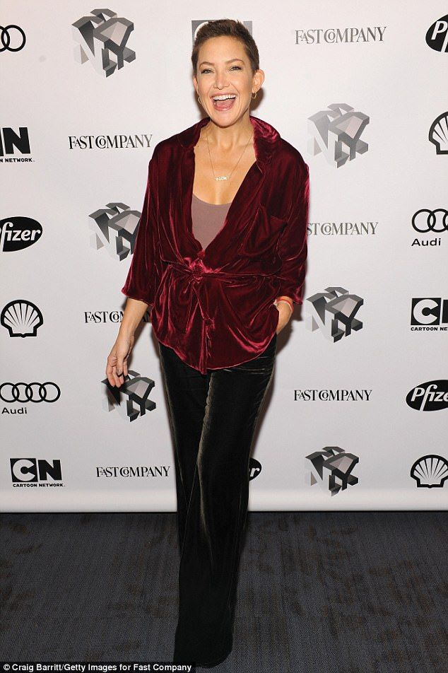 Kate Hudson looks vivacious in crushed velvet blazer and pants in NYC #autumninnewyork