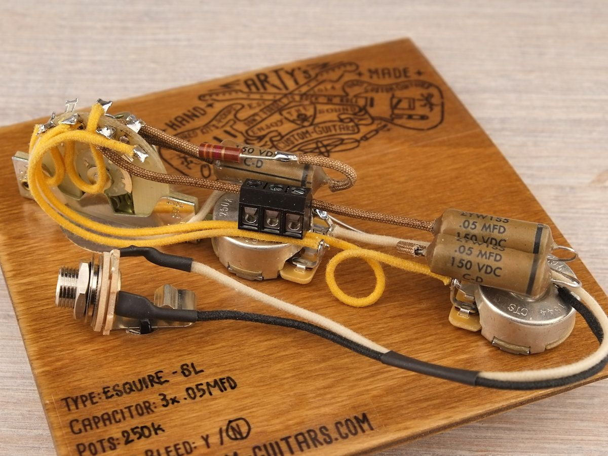 Arty's Custom Guitars SOLDERLESS ESQUIRE 1950 Vintage Pre-wired prewired Kit  wiring Assembly Harness Arty