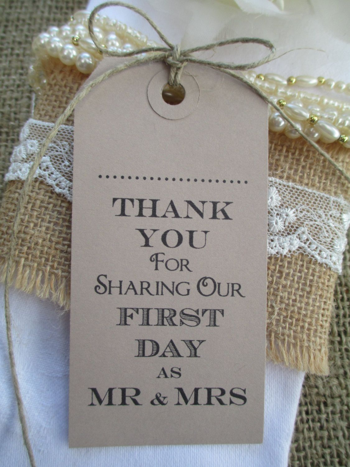 100 Wedding Napkin Ties Wedding Name Place Tags Table Decor Tags Thank You For Sharing Our First