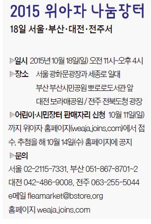2015년 10월 11일 2015 위아자 나눔장터 :  18일 서울·부산·대전·전주서