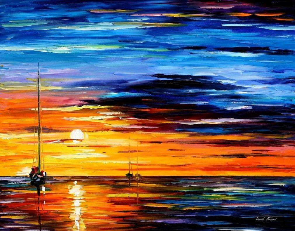 Painting Canvas Far And Away Original Oil On Canvas Painting By Leonidafremov On