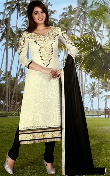 Picture of Melodic Black and Off White Color Casual Salwar Kameez