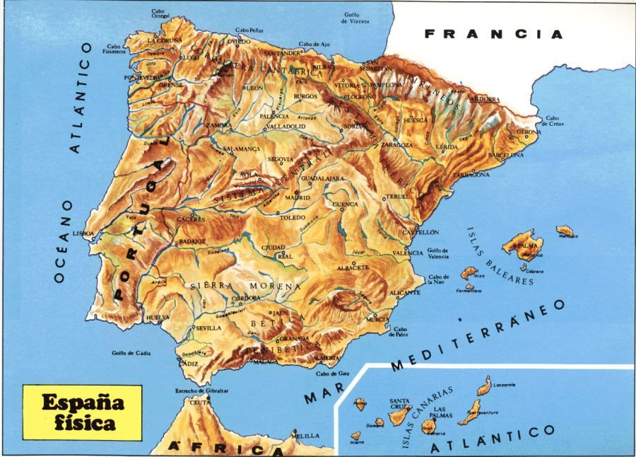 Map Of Spain Gibraltar And Morocco.Spain Mountains Map Trip Combo Spain Morocco Map Spain Mountains