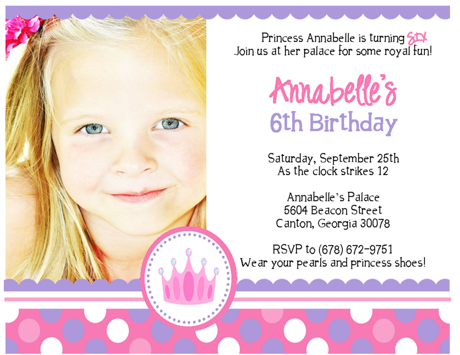 Princess Party Invites Free Templates wedding anniversary greeting ...