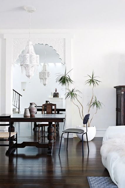 Exotic white archway and light fixture | Living Room | Pinterest