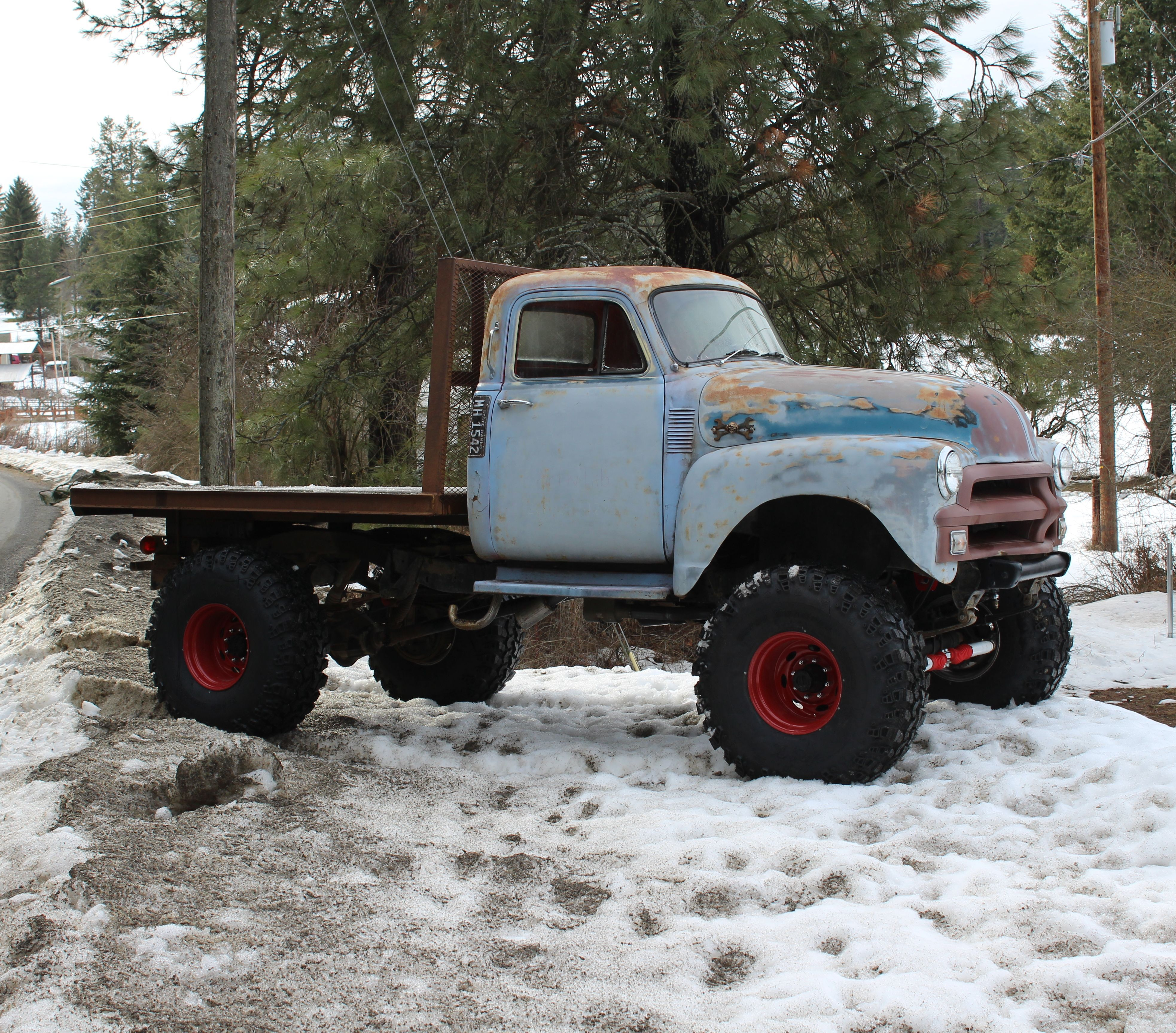 1954 chevy 1 ton 4 x 4 rat rod flat bed truck with 42\