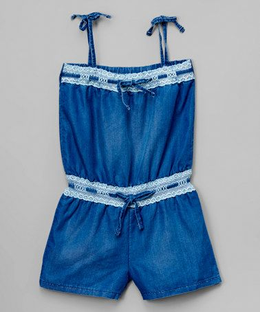 Another great find on #zulily! Medium Blue Denim Romper - Toddler & Girls #zulilyfinds