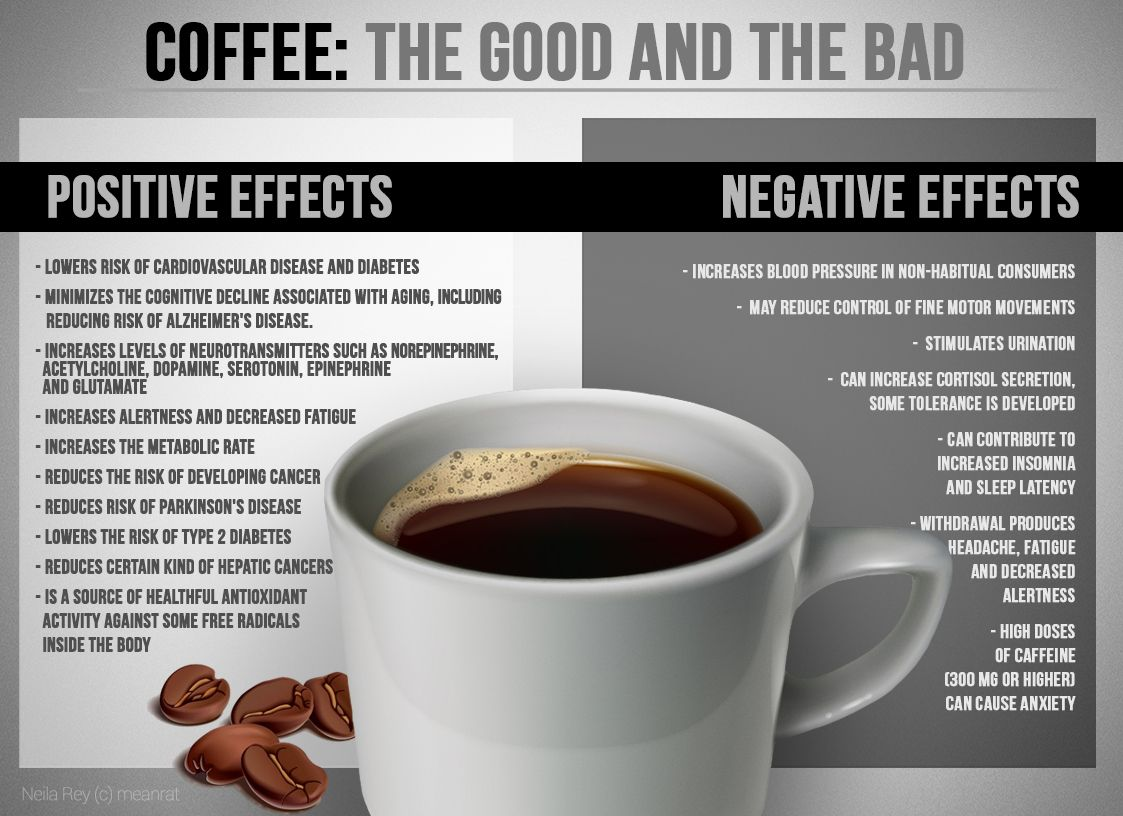 Coffee The Good And The Bad Infographic Food Coffee Bad For You Coffee Benefits Coffee Health Benefits