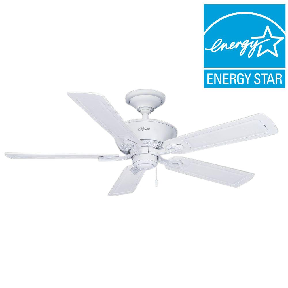 Hunter Caicos 52 In Cottage White Wet Rated Ceiling Fan 53211