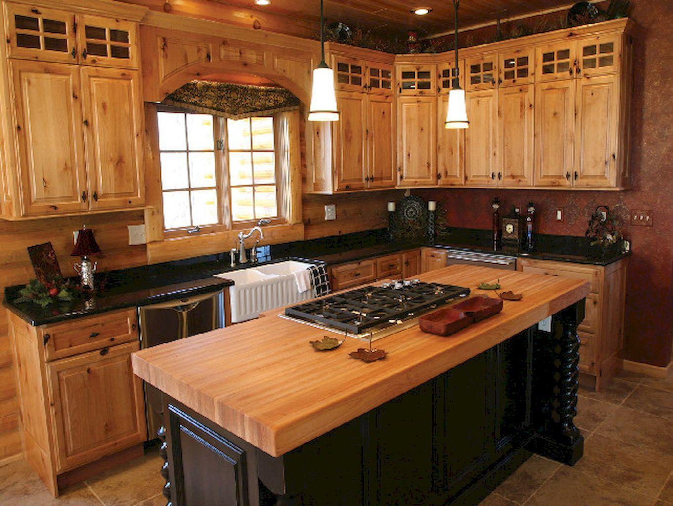 85 farmhouse style kitchen cabinet design ideas rustic kitchen cabinets pine kitchen cabinets on farmhouse kitchen hickory cabinets id=92096