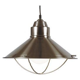 """One-light metal pendant in brushed steel.   Product: PendantConstruction Material: MetalColor: Brushed steel  Features:  10' Cord included UL Listed Accommodates:  (1) 150 Watt medium bulb - not includedDimensions: 12"""" H x 16"""" Diameter"""