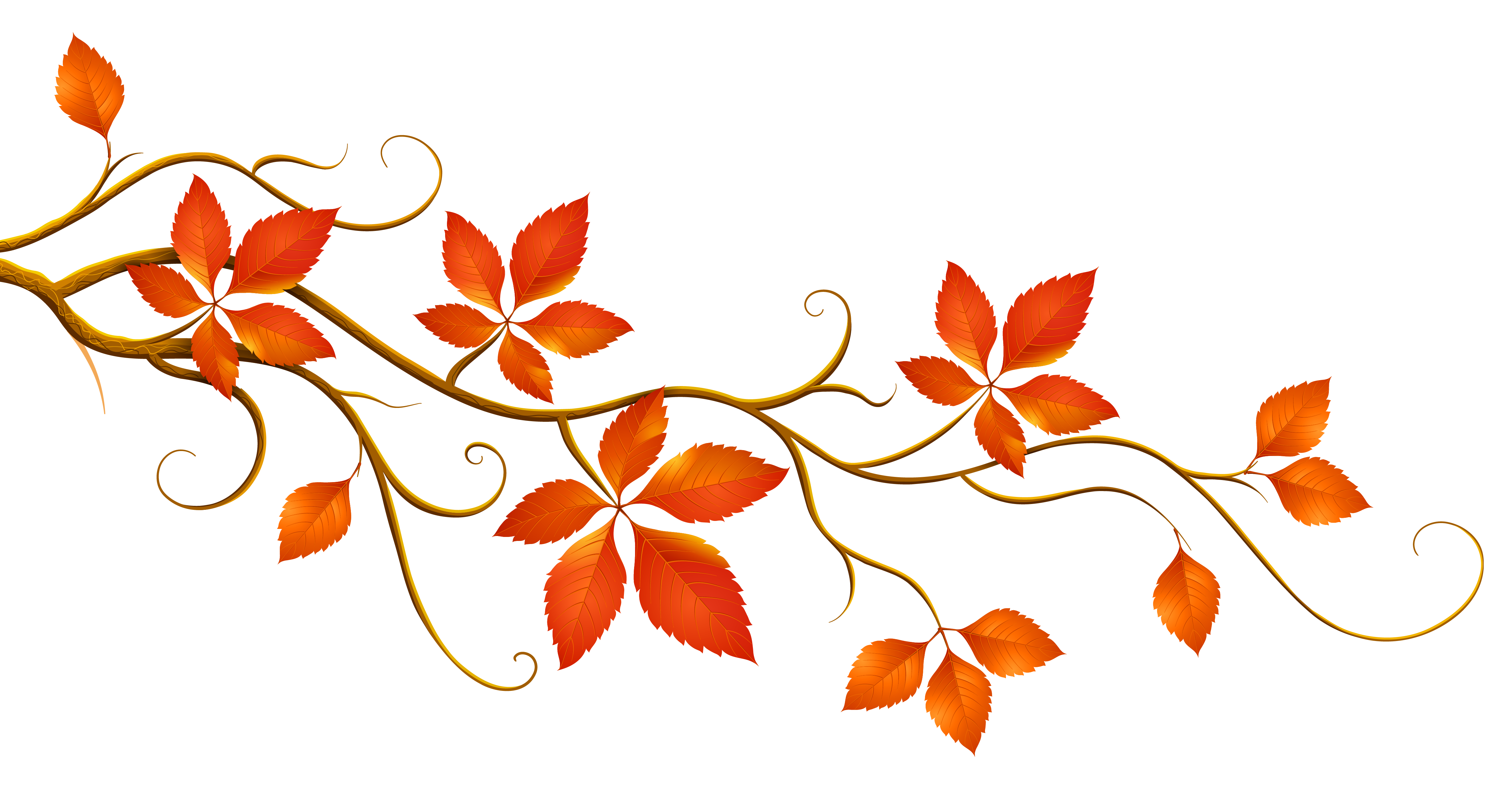 Decorative Branch With Autumn Leaves PNG Clipart Fall Templates