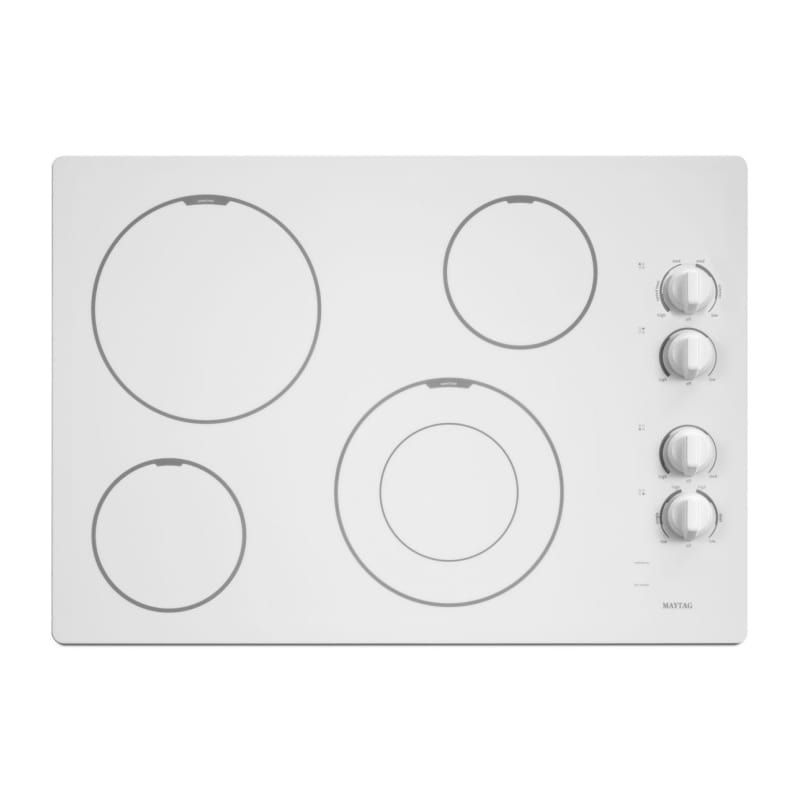Maytag Mec7430b 30 Inch Wide Electric Cooktop With Sd Heat Element White Cooktops