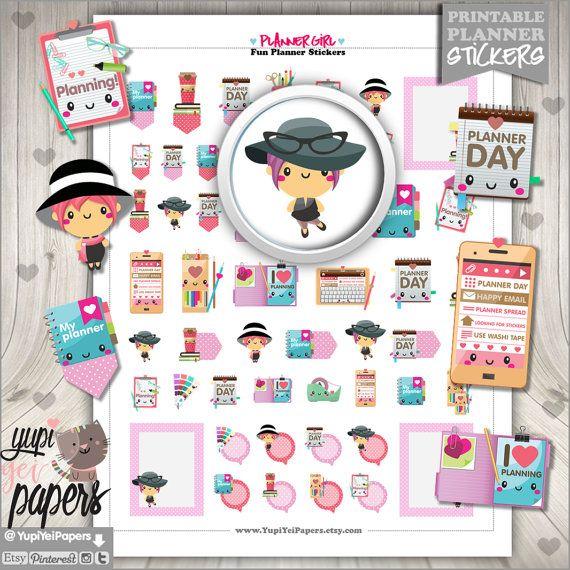 Planner Girl Stickers, Planner Stickers, Planner Girl, Planner Day, Printable Stickers, Planner Accessories, Erin Condren