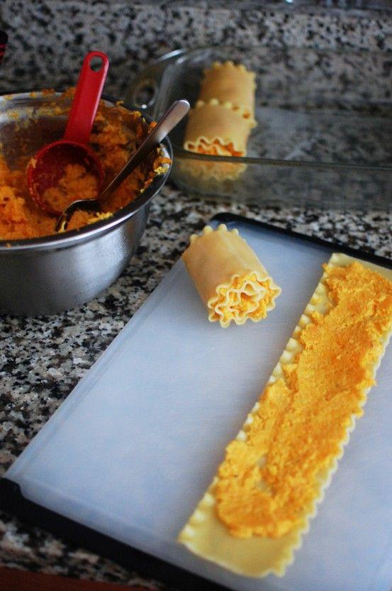 Butternut Squash Lasagna Rolls!!! Om nom