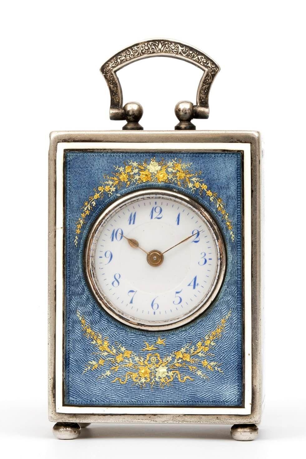 A Swiss silver miniature translucent enamel travel clock