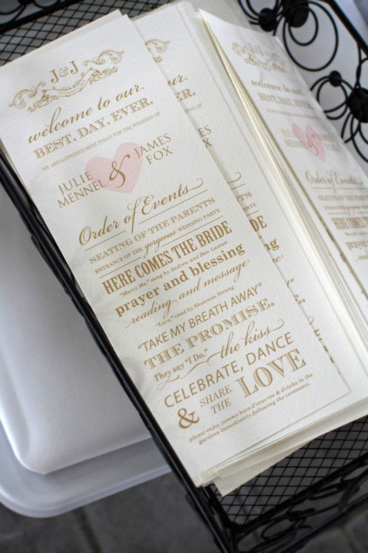 Storybook Wedding Ceremony Program Card Best Day Ever Blush Pink And Gold Indianapolis Custom Stationery