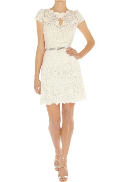 Elegant Cap-Sleeve Belted Lace A-line Dress OASAP.com