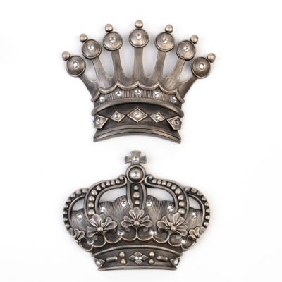 His Her Crown Silver Jeweled Wall Plaque Set Of 2