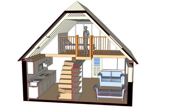 garage studio loft ideas - Garage Conversion with loft and stairs 3D image
