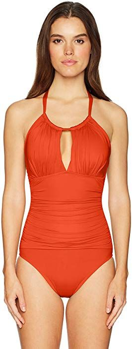 1a280e5a59 Kenneth Cole New York Women's High Neck Rouched Front Keyhole One Piece  Swimsuit, Sienna, Small at Amazon Women's Clothing store:
