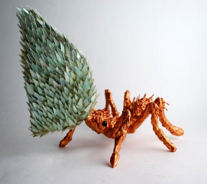Stunning Sculptures Made from Discarded CD Fragments   Hometalk