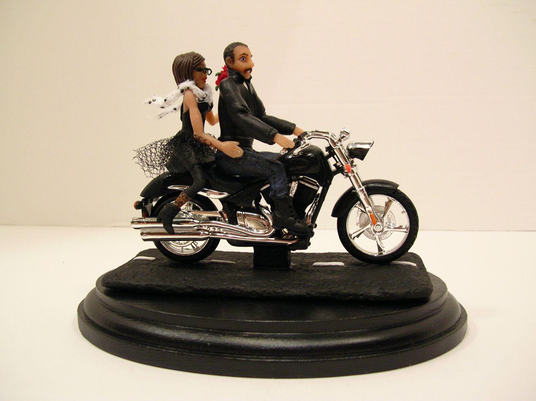 Wedding Cake Topper Motorcycle Couple Caketopcreations Etsy