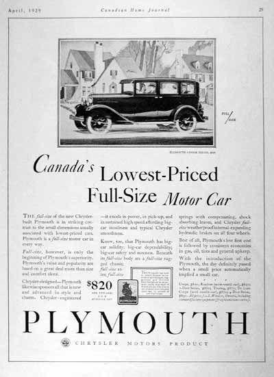 1929 Plymouth Sedan Original Vintage Adver Canada S Lowest Priced Full Size Motor Car