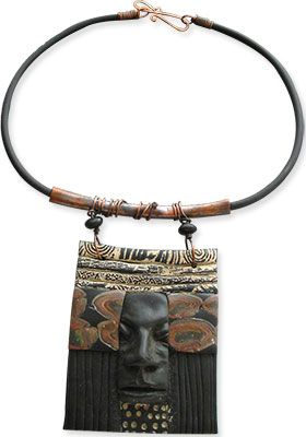 You'd be hard pressed to identify the polymer techniques that Washington's Pam Sanders uses in her Paul's Gift neckpiece. There's some caning, some carving, some sculpting but the real strength is in Pam's composition and in its strong, dark ra [...]