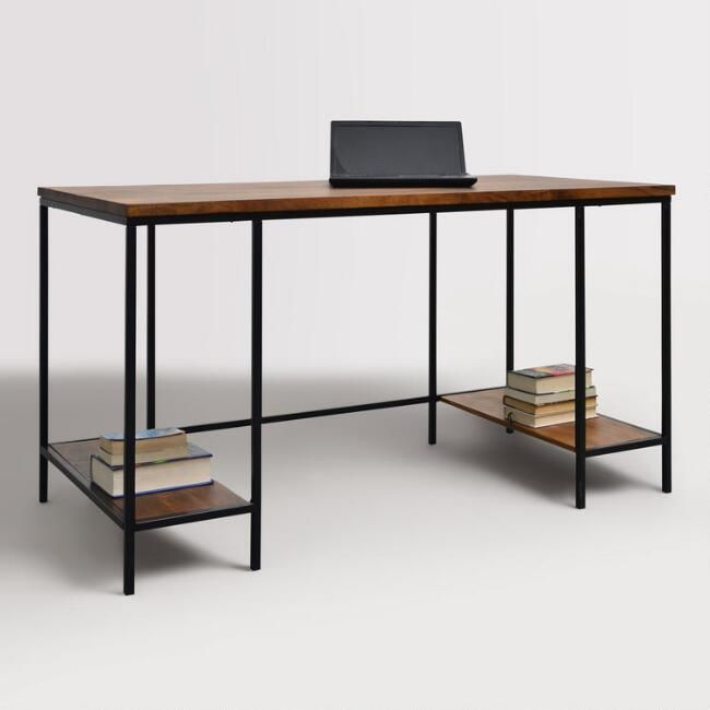 Attirant Wood And Metal Williard Extra Long Desk   V1
